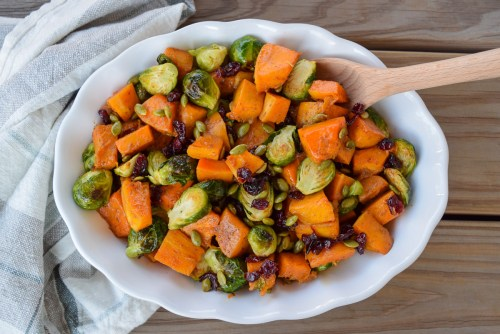 Roasted Butternut Squash, Brussels Sprouts, and Dried Cranberries | www.freshapron.com