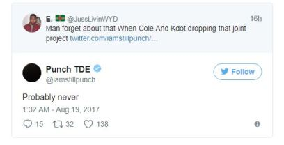 "TDE President Says Kendrick & J Cole Album is ""Probably Never"" Coming Out"
