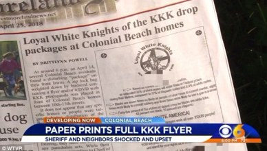 Virginia Newspaper Publishes KKK Recruitment on its Cover