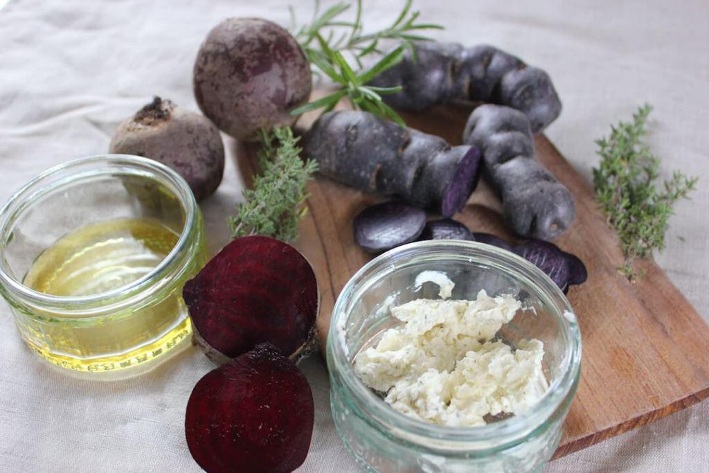 zutaten Rote Beete-Kartoffel-Auflauf mit violetten Kartoffeln