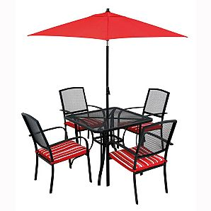 Bargain garden parasol and patio set