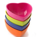 Bright and cheerful heart ice cream bowls