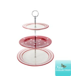 Laura Ashley red three tier cake stand