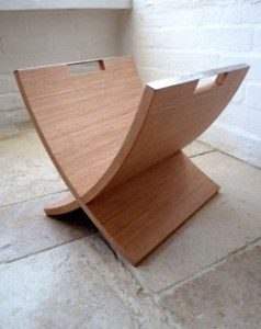 Natural wood magazine rack