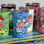 Colourful Kashmiri handpainted enamel beakers
