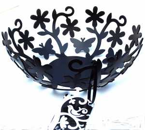 Decorative black butterfly and flower bowl