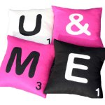 Recycled Scrabble felt cushions from Ecocentric