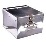 Vintage aluminium DVD locker storage box