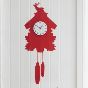 Red kitsch vinyl wall sticker cuckoo clock