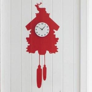 Red kitsch vinyl wall sticker cuckoo clock