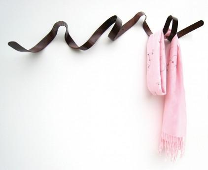 Bronze ribbon coat rack by HeadSprung