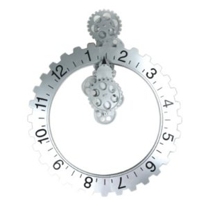 Silver funky Invotis wall gear clock from Amazon