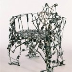 Unique modern chair made entirely from reclaimed cutlery