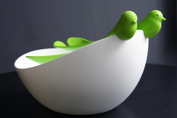Quirky bird salad bowl and servers set