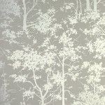 Mandara contemporary silver tree wallpaper