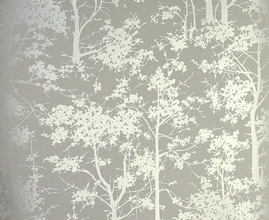 Mandara contemporary silver tree wallpaper