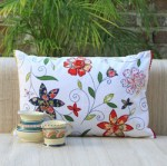 Contemporary Indian white flower cushion from Plum Chutney