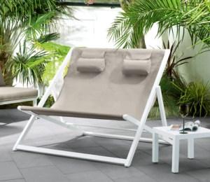 Contemporary double garden deck chair
