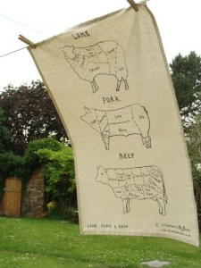Meatcuts British designer tea towel