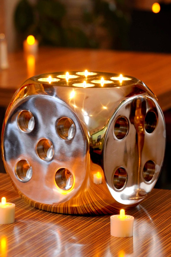 Cool Fire Dice tea light candle holder