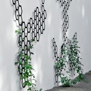 Metal honeycomb contemporary modular garden trellis