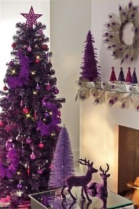 Modern and contemporary plum purple xmas tree decorations