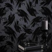 Disney villians black flock wallpaper