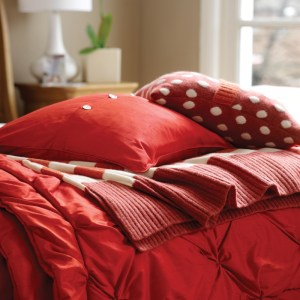 Luxurious red silk quilt bedding