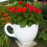 Giant tea cup garden planter by Holly Palmer