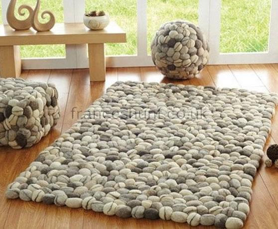 cotton skan brown wool rug white marbled felted product bro carlos