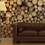 Log cabin stacked wood wallpaper mural