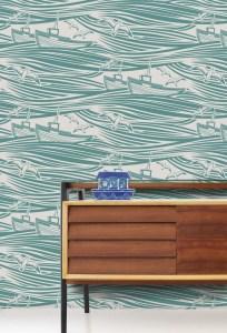 Contemporary modern nautical wallpaper