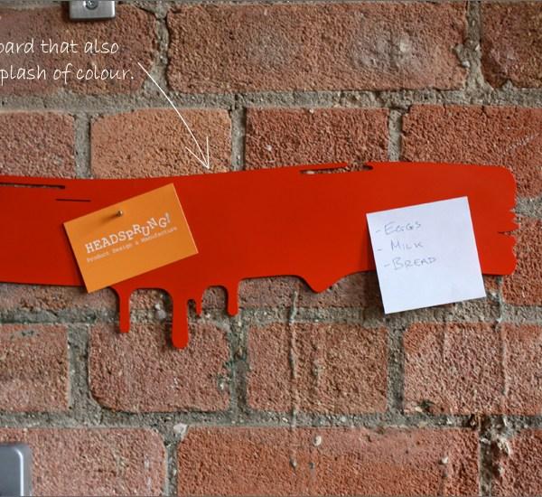 Contemporary drip design magnetic notice board