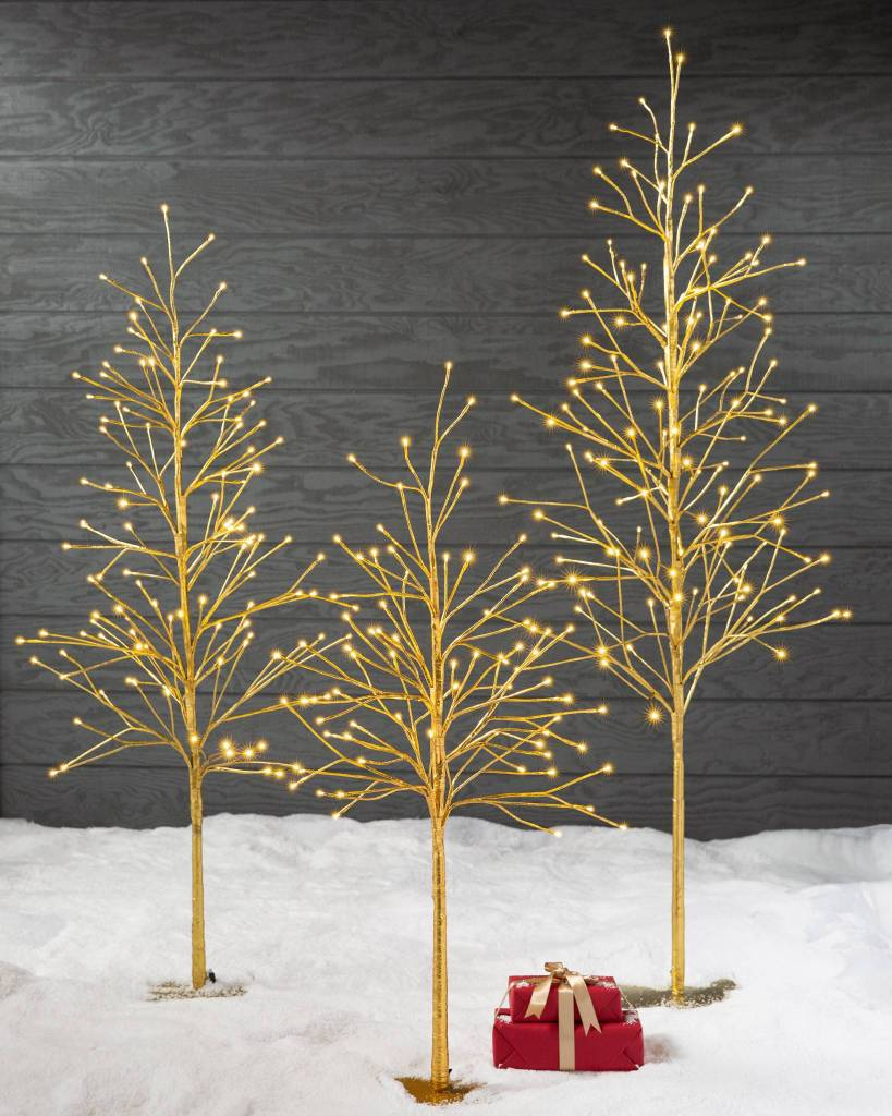 Stunning golden glow contemporary twig Christmas tree that can be used inside or outside your home.