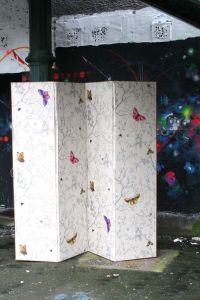 Designer screen room divider made of fabric