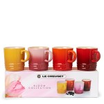 Le Creuset boxed Bloom Collection espresso mugs set