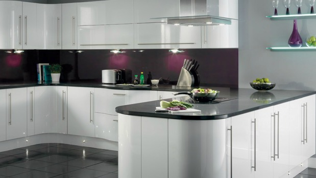 Contemporary kitchen design with beautifully curved white cupboards