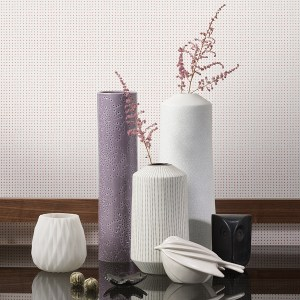 Textured contemporary vase and bird decorative accessories