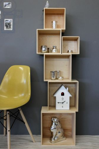 Set of stacking storage shelf display cubes