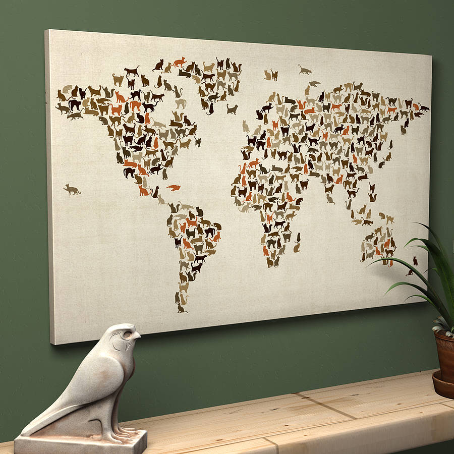 Vintage Home accessories for cat lovers Cats world map