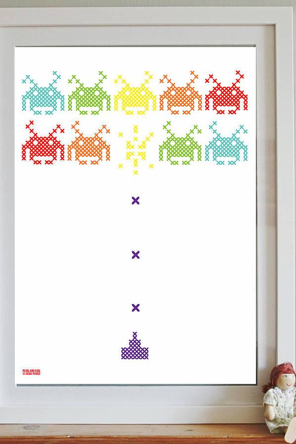 Pearl and Earl cross stitch space invaders wall art print