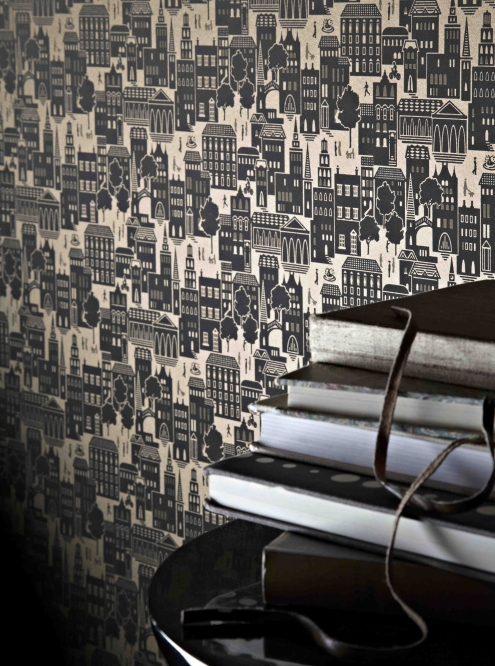 Contemporary designer chocolate brown wallpaper