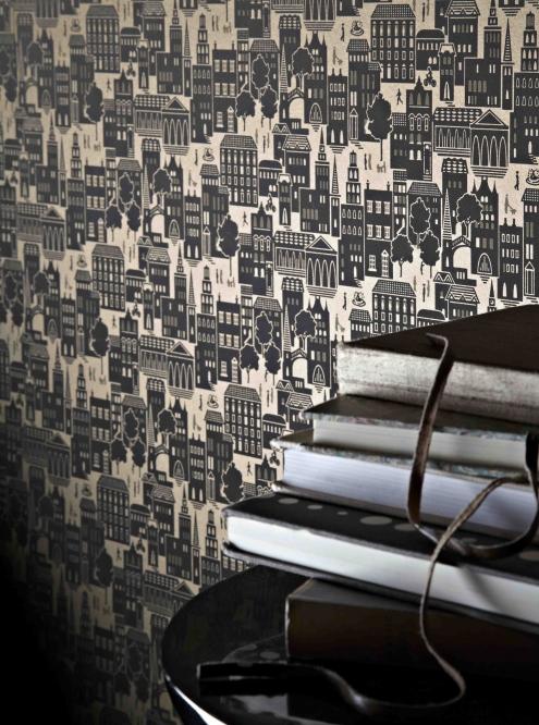 Contemporary designer chocolate brown wallpaper