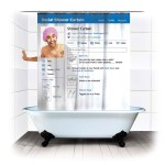 Bathroom accessories: Social networking design shower curtain