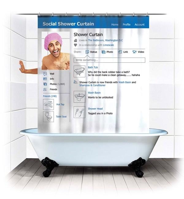 Bathroom accessories: Social networking design shower curtain