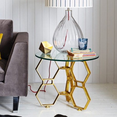 Contemporary modern honeycomb hex side table