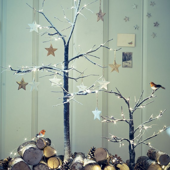 Frosted Effect Light Up Twig Christmas Trees Fresh