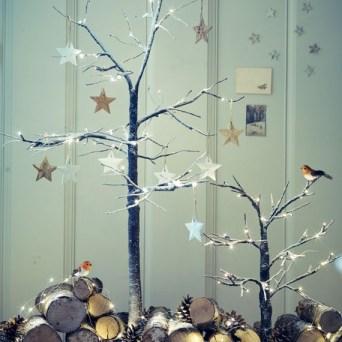 Contemporary modern indoor twig xmas tree