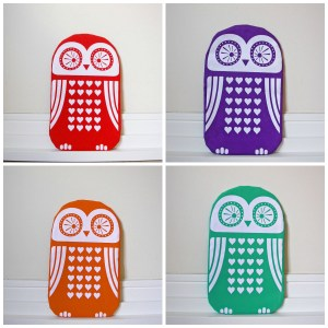 Funky screen printed owl designs