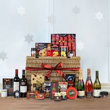 Luxury opulent Christmas food drink hamper